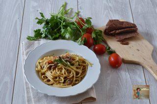 Linguine con Pomodorini e Tonno salato