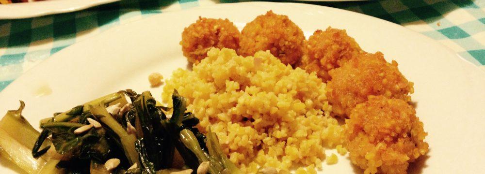 bulgur di mais e polpettine di samone