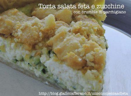 Torta salata feta e zucchine con crumble di parmigiano