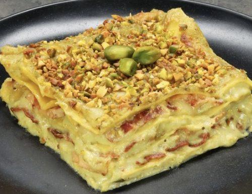 Lasagna al pistacchio,mortadella e provola