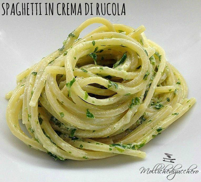 spaghetti in crema di rucola