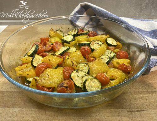 Zucchine e peperoni al forno contorno facile e veloce