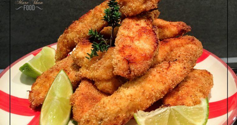 Crocchette (o bastoncini) di pollo al timo e lime.