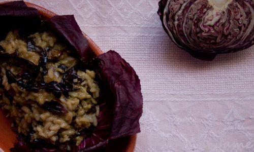 Risotto al radicchio e avocado, ricetta vegan