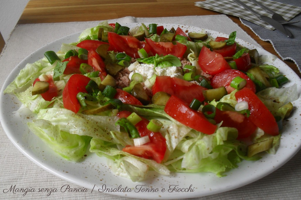 Insalata Tonno e Fiocchi, ricetta leggera, Mangia senza Pancia
