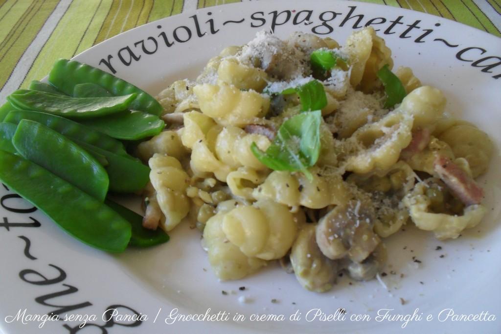 Gnocchetti in crema di Piselli con Funghi e Pancetta, diario di una dieta - Giorno 151 - Pesata 21, Mangia senza Pancia