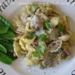 Gnocchetti con crema di Piselli con Funghi e Pancetta, menu dieta weight watchers, Mangia senza Pancia