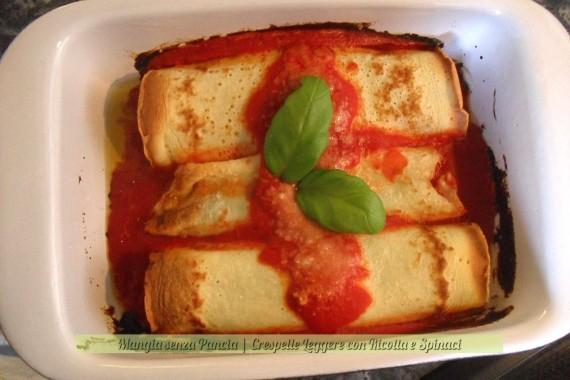 Crespelle leggere Ricotta e Spinaci, versione al pomodoro, Mangia senza Pancia