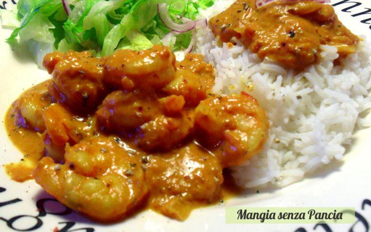 Gamberoni al curry con riso basmati