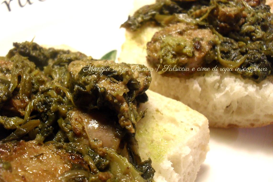 Salsiccia e cime di rapa in conserva, ricetta veloce, Mangia senza Pancia
