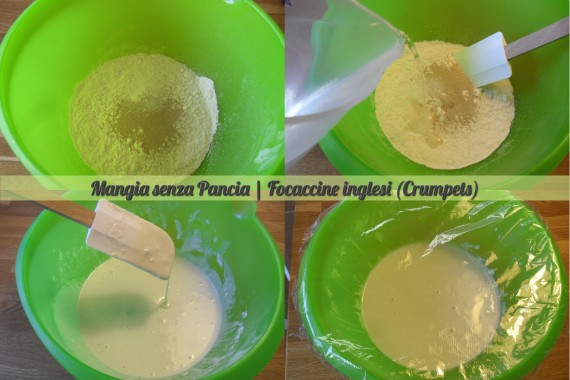 Focaccine inglesi crumpets, ricetta anglosassone, Mangia senza Pancia - preparazione 1