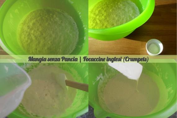 Focaccine inglesi crumpets, ricetta anglosassone, Mangia senza Pancia - preparazione 2