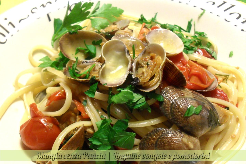 Linguine vongole e pomodorini, ricetta leggera, Mangia senza Pancia