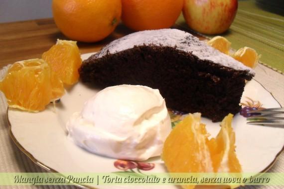 Torta cioccolato e arancia, senza uova o burro, Mangia senza Pancia