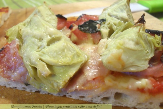 Pizza prosciutto cotto e carciofini, diario di una dieta, Mangia senza Pancia