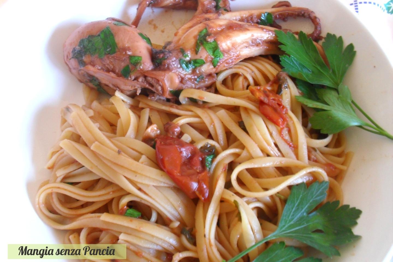 Trenette al sugo di moscardini, ricetta leggera, Mangia senza Pancia