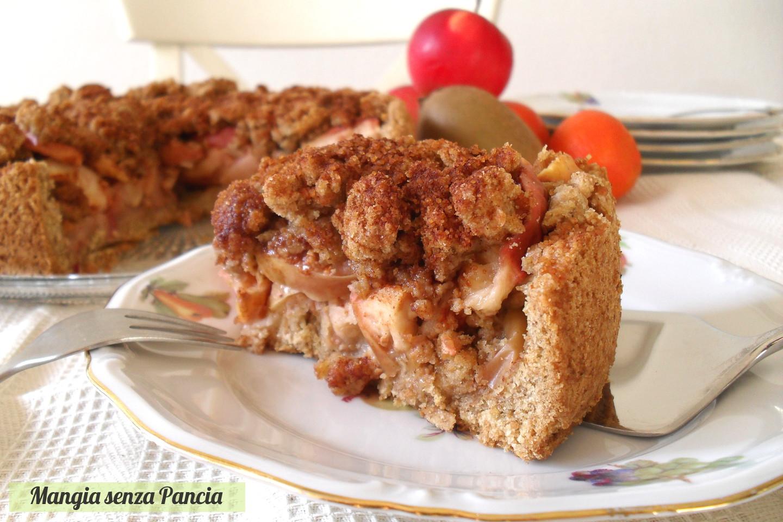 Torta di mele con crumble, ricetta leggera, Mangia senza Pancia