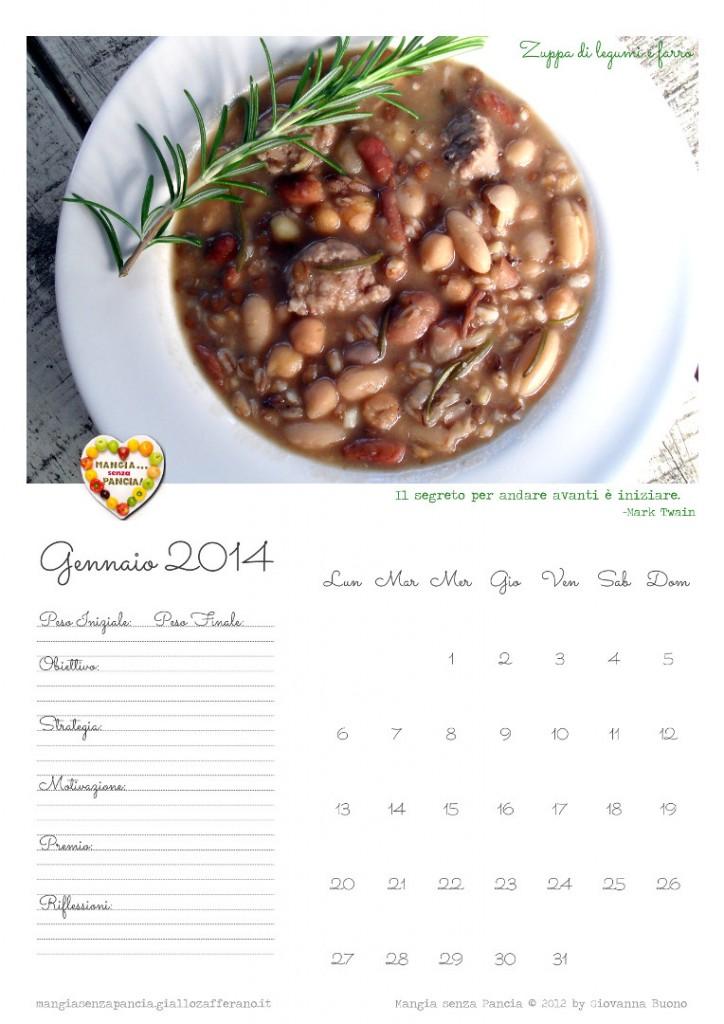 Calendario 2014, gennaio, Mangia senza Pancia