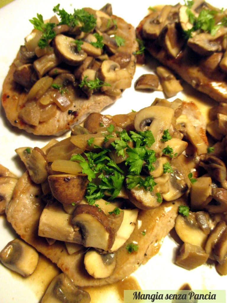 Prosciutto di maiale ai funghi, ricetta leggera, Mangia senza Pancia