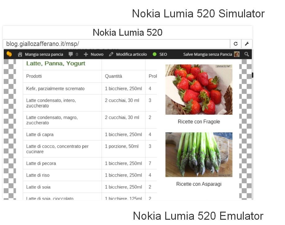 Simulatore Nokia 520 e lista punti MSP