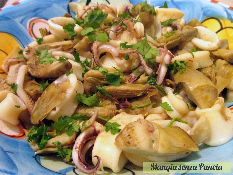 Calamari e carciofi in padella una ricetta facile e molto gustosa