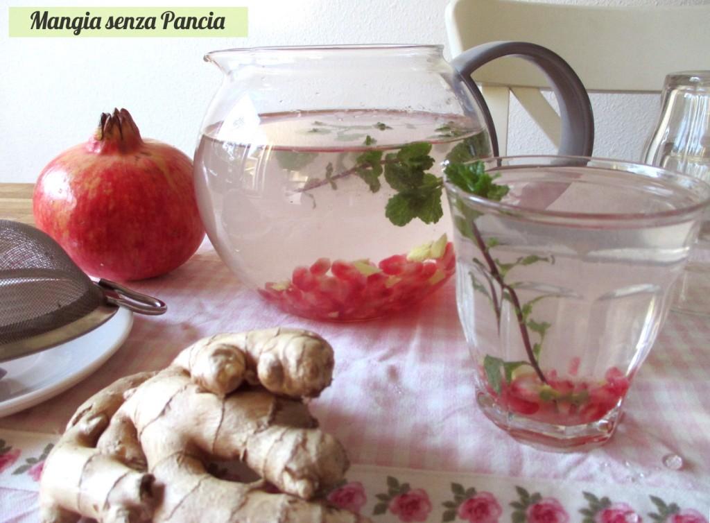 Bevanda depurativa melagrana zenzero e menta, Mangia senza Panciaangia senza Pancia