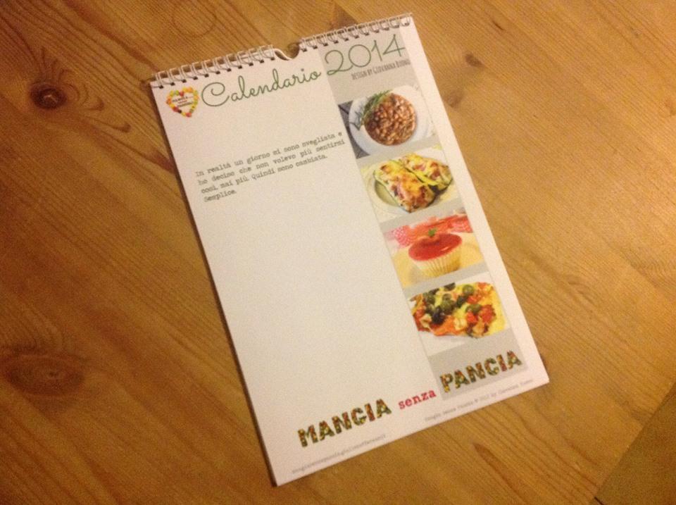 Calendario 2015, calendario 2014 stampato e rilegato da Elisa Delladio, Mangia senza Pancia