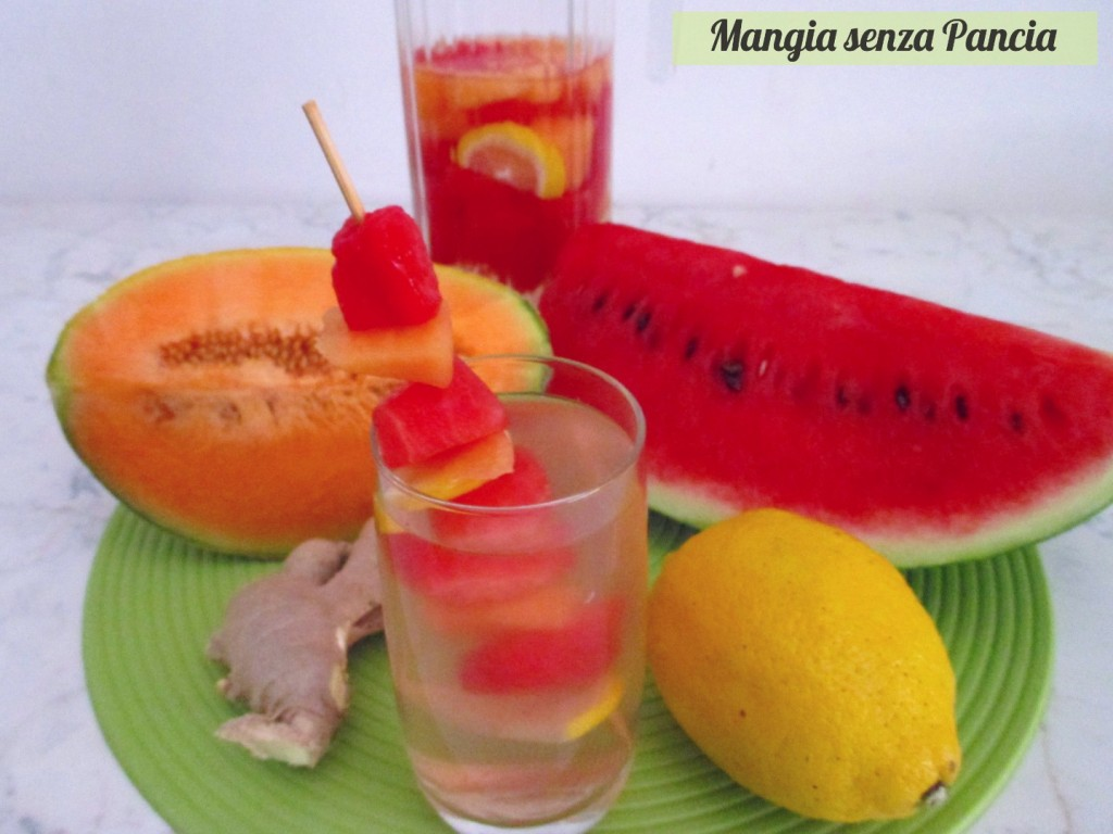 Bevanda depurativa anguria e melone con limone e zenzero, Mangia senza Pancia