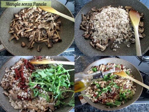 Sorgo con funghi misti, rucola e pomodori secchi, Mangia senza Pancia