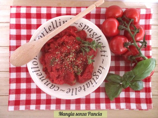 Salsa per pizza light, ricetta base, Mangia senza Pancia