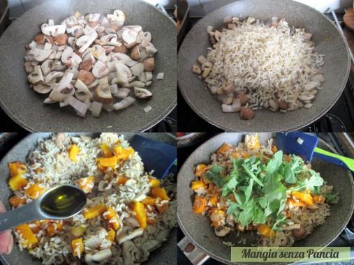 Riso zucca e funghi con rucola light, Mangia senza Pancia