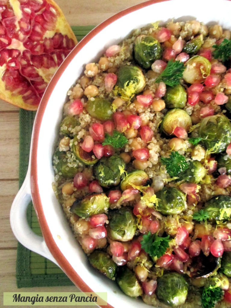 Quinoa con cavoletti, ceci e melagrana, Mangia senza Pancia