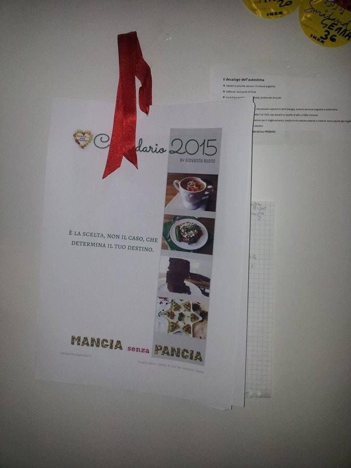 Calendario 2016, calendario 2015 stampato e rilegato da Gabriella Melillo, Mangia senza Pancia