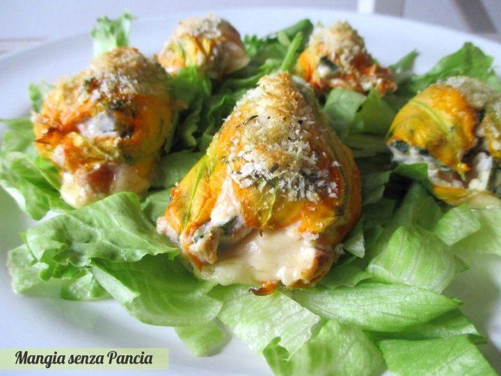 Fiori di zucca ripieni al forno, Mangia senza Pancia
