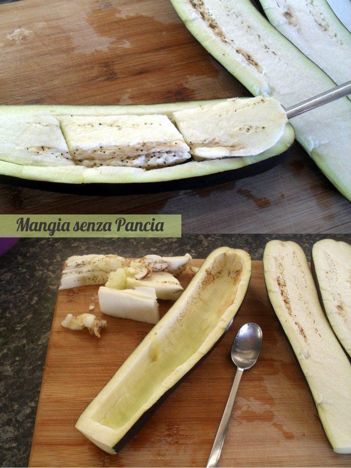 Melanzane ripiene di pasta e scamorza, Mangia senza Pancia