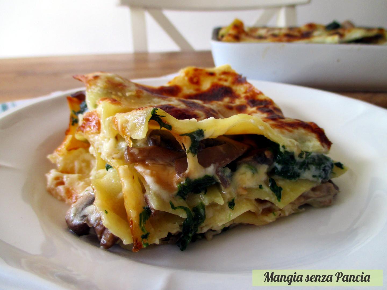 Lasagne ai funghi e spinaci