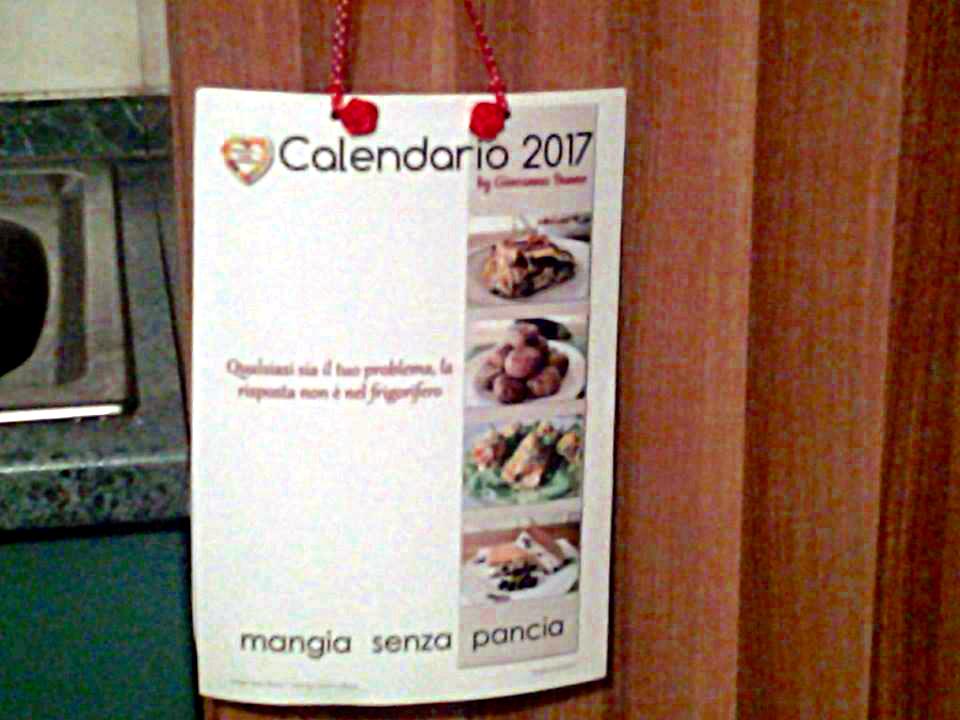 Calendario 2018, calendario 2017 stampato e rilegato da Antonietta Lombardi, Mangia senza Pancia