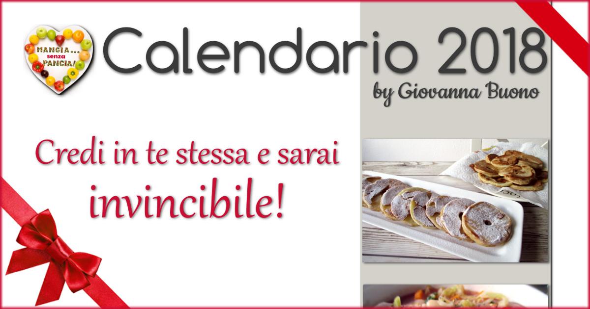 il Calendario 2018 di Mangia senza Pancia da scaricare gratis