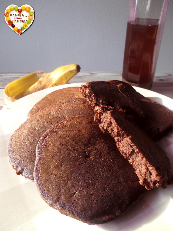 Pancakes cioccolato e banana, senza zucchero, Mangia senza Pancia