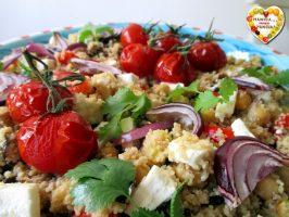 Couscous con verdure grigliate, ceci e feta