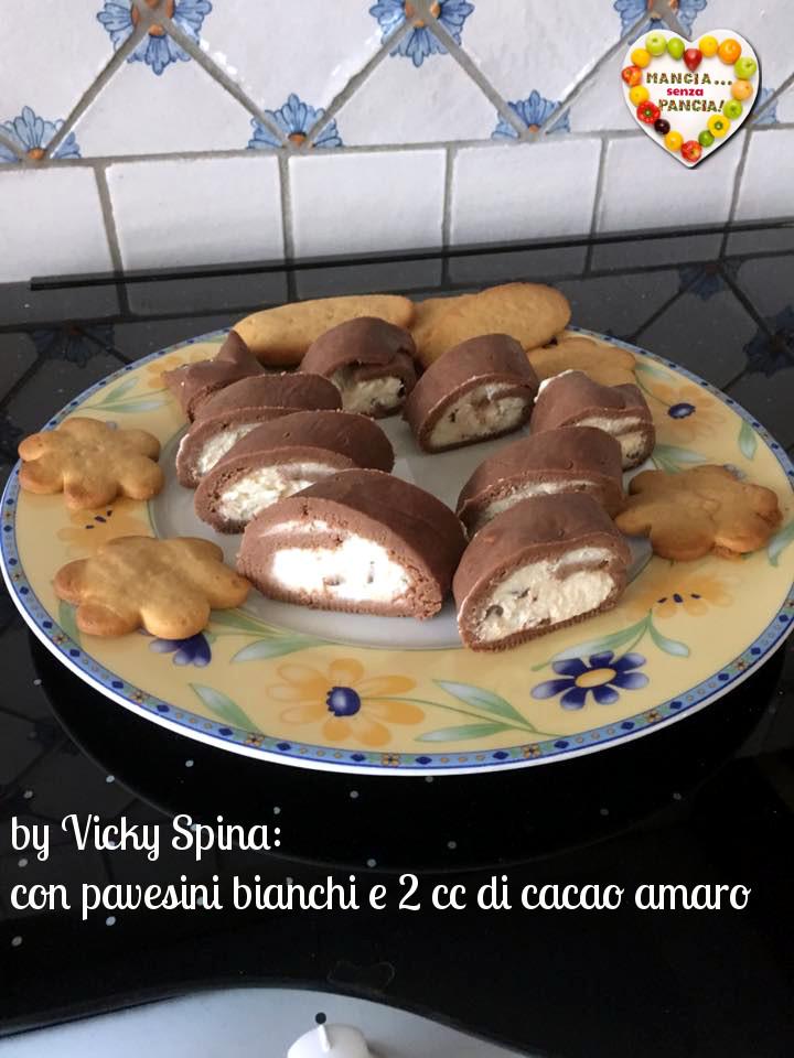 Rotolo di pavesini al cacao, con pavesini bianchi by Vicky Spina, Mangia senza Pancia