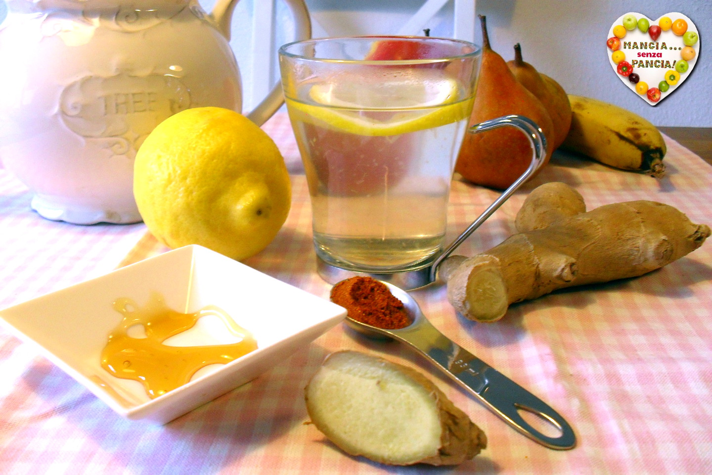 Tisana depurativa limone, peperoncino e zenzero, Mangia senza Pancia