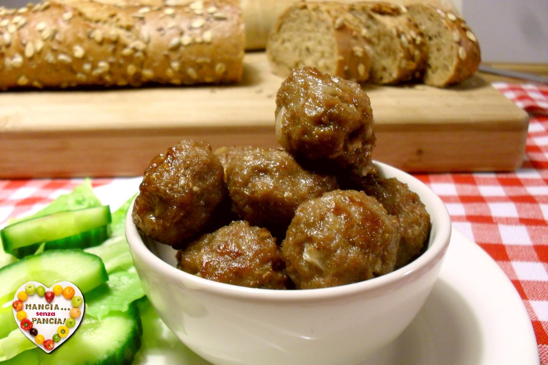 Polpettine di carne al forno senza uova o olio, Mangia senza Pancia