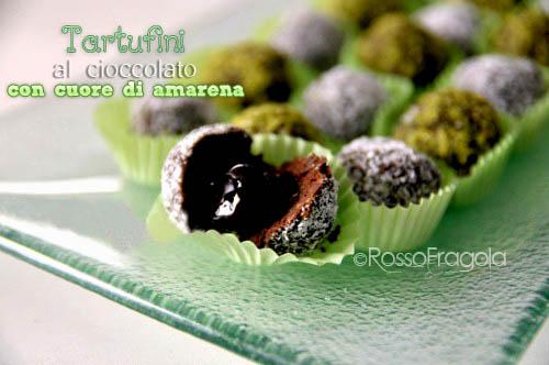 tartufi al cioccolato con cuore di amarena