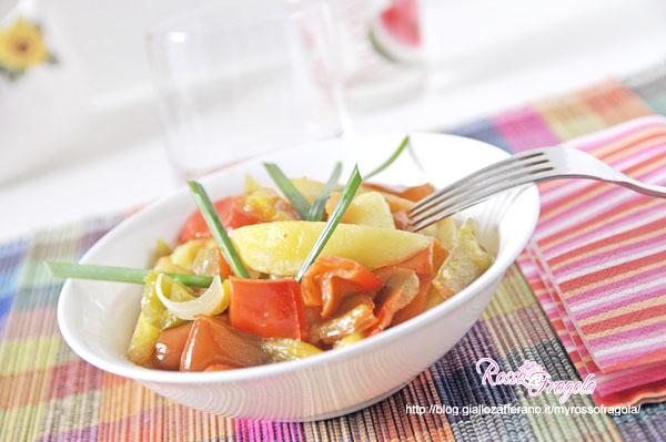 Ratatouille di peperoni patate e cipolle