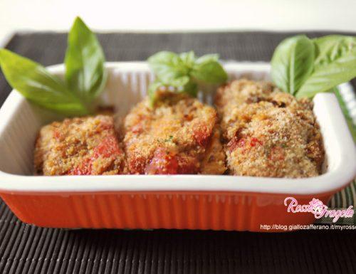 Involtini di peperoni rossi al prosciutto