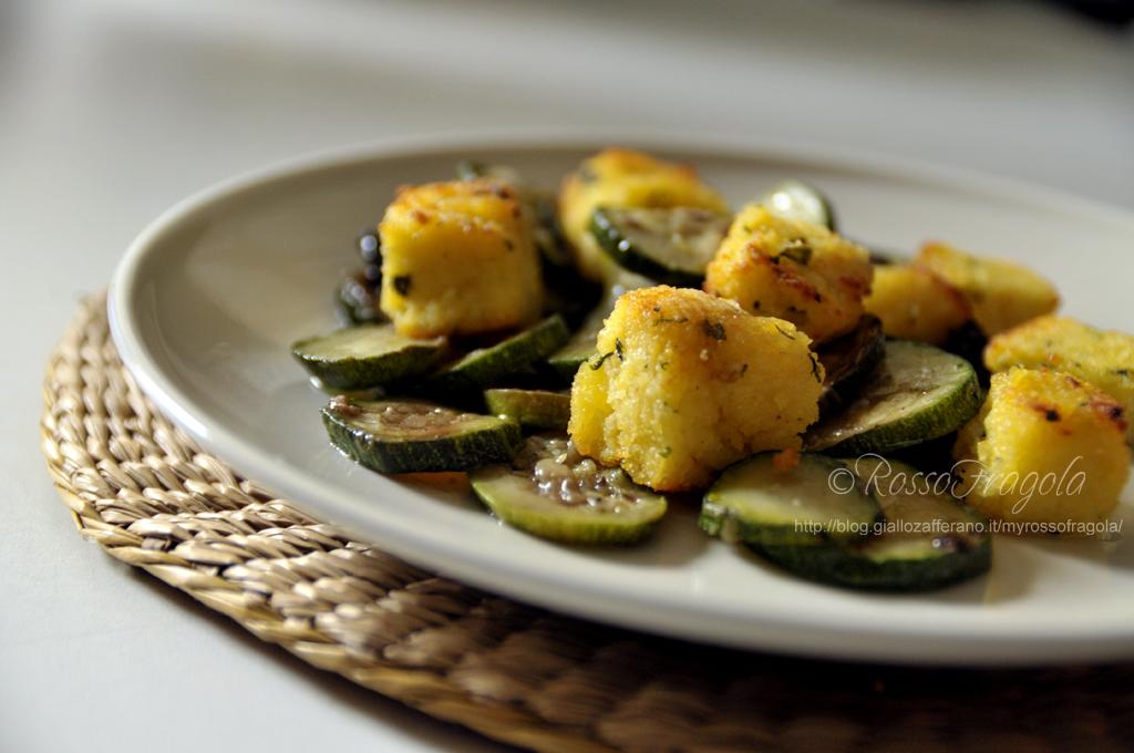 cubetti di polenta con zucchine