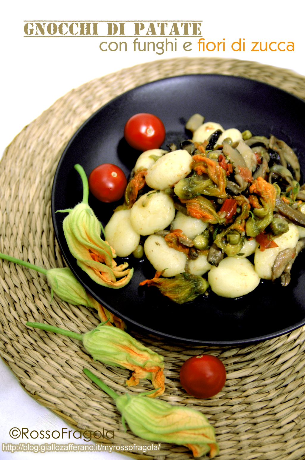 gnocchi di patate con funghi e fiori di zucca