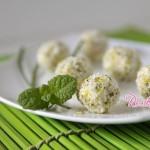Palline cremose con zucchine pistacchio e cocco,tartufi salati al cocco