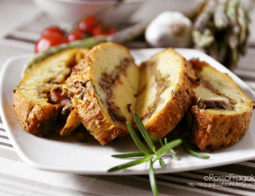 Tortino di patate con asparagi e funghi